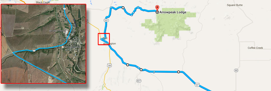 Map-Billings-to-Arrowpeak-Lodge-MT